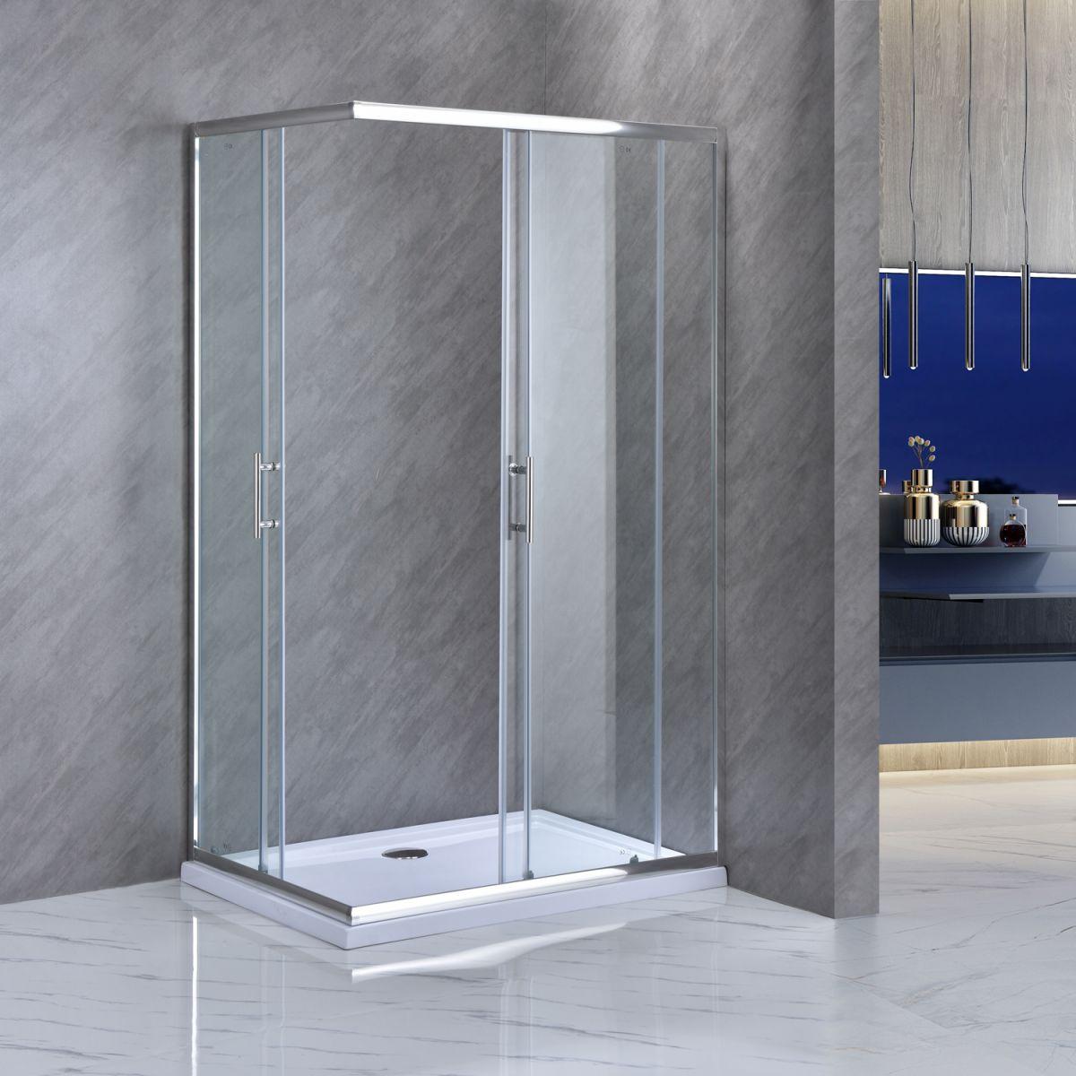 """SE 111 2 Box doccia rettangolare """"Saturno"""" 70×90 cm scorrevole cristallo trasparente 6 mm"""
