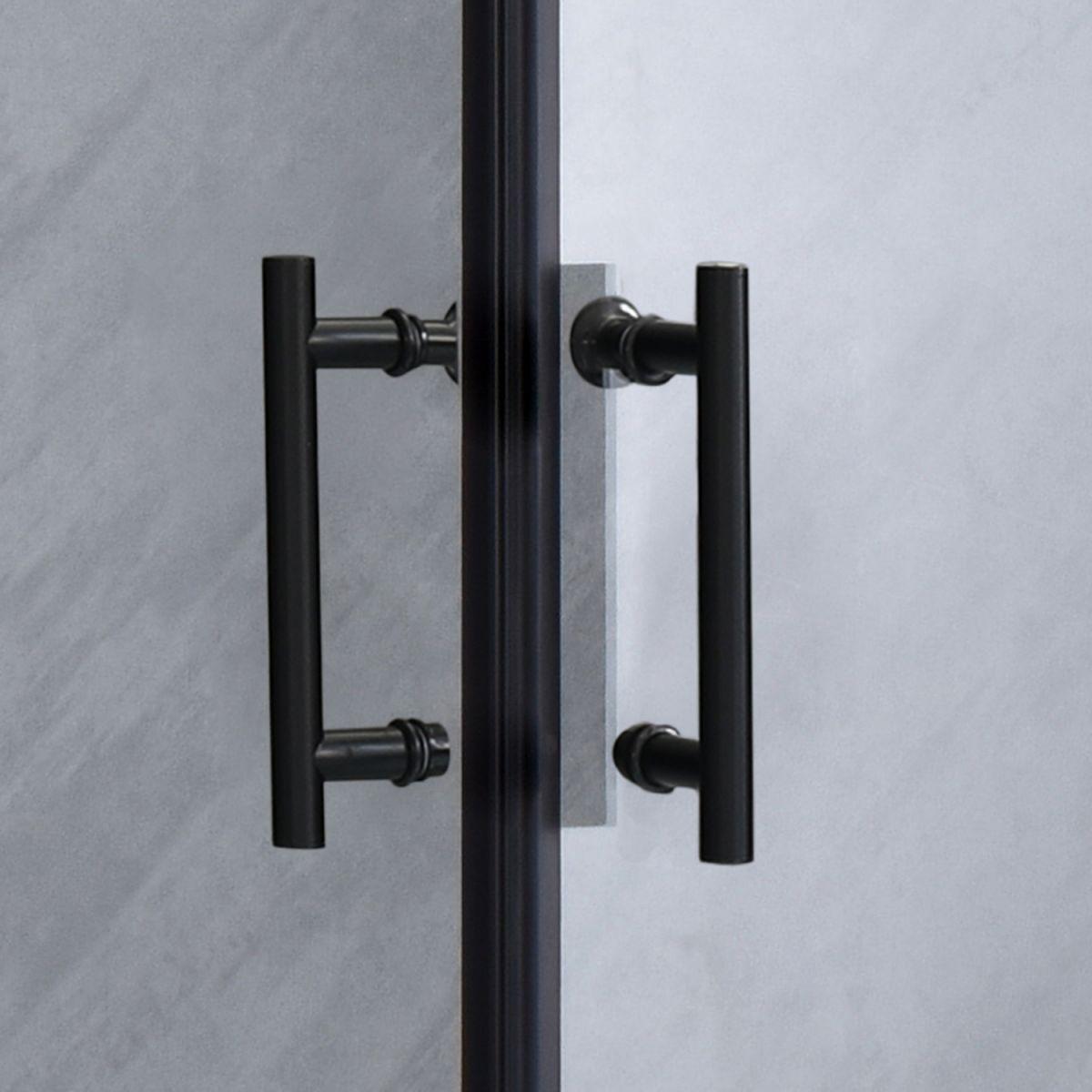 """SE 111B 3 Box doccia rettangolare """"Saturno"""" 80×120 cm scorrevole cristallo trasparente 6 mm e profili neri"""