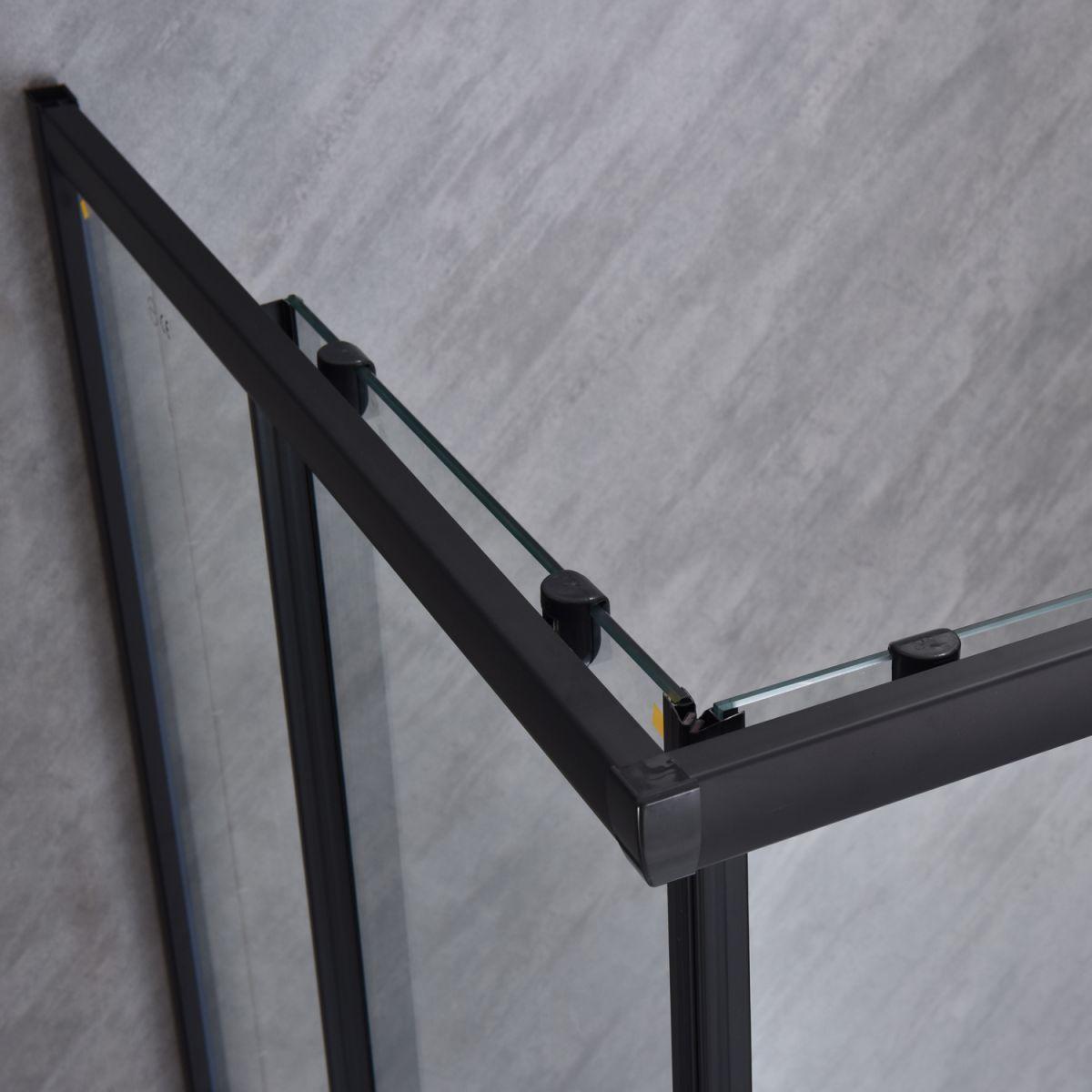 """SE 111B 4 Box doccia rettangolare """"Saturno"""" 80×120 cm scorrevole cristallo trasparente 6 mm e profili neri"""