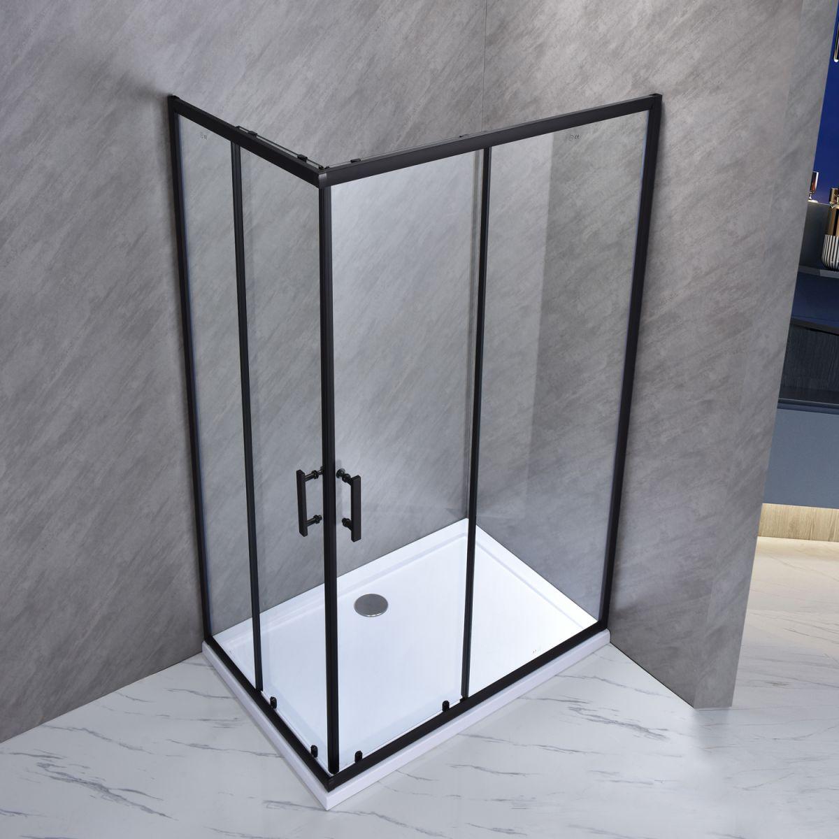 """SE 111B handle 2 Box doccia rettangolare """"Saturno"""" 80×120 cm scorrevole cristallo trasparente 6 mm e profili neri"""
