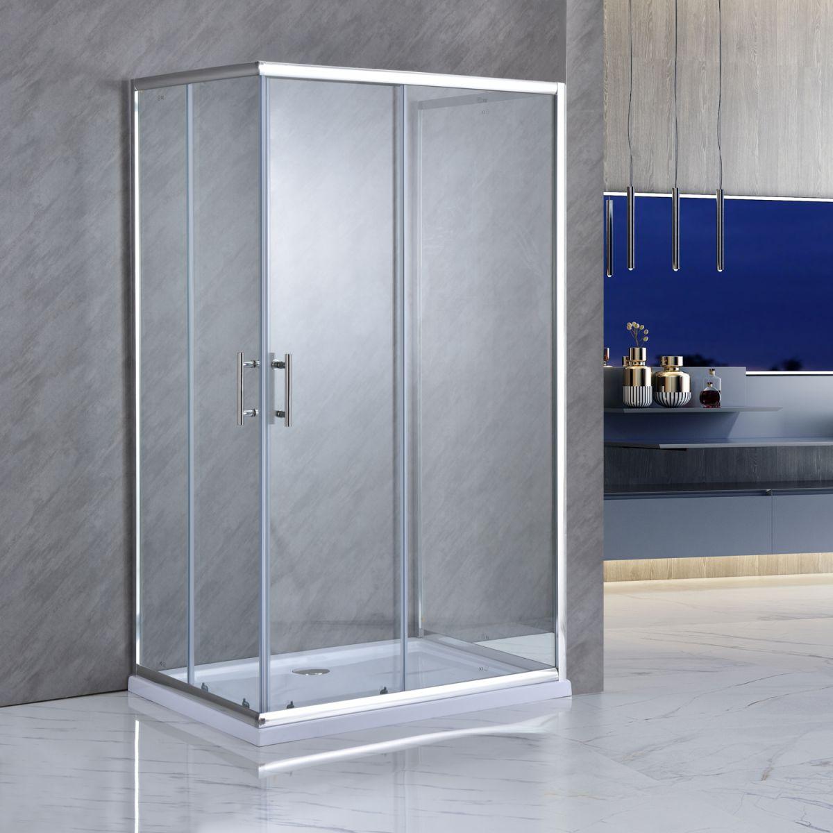 """SE 119 1 Box doccia tre lati """"Saturno"""" 70x100x70 cm scorrevole cristallo trasparente 6 mm"""