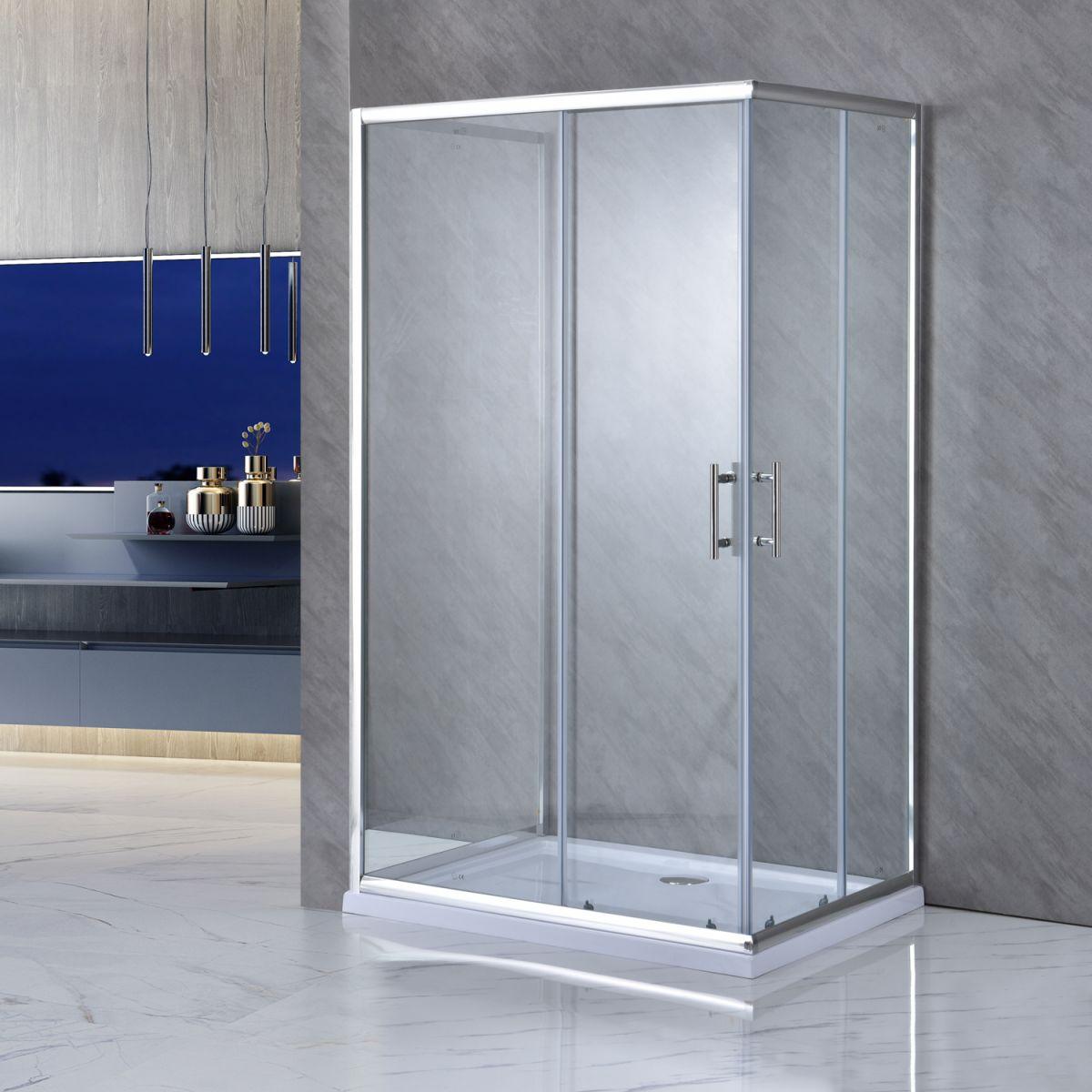 """SE 119 1 LEFT Box doccia tre lati """"Saturno"""" 70x100x70 cm scorrevole cristallo trasparente 6 mm"""