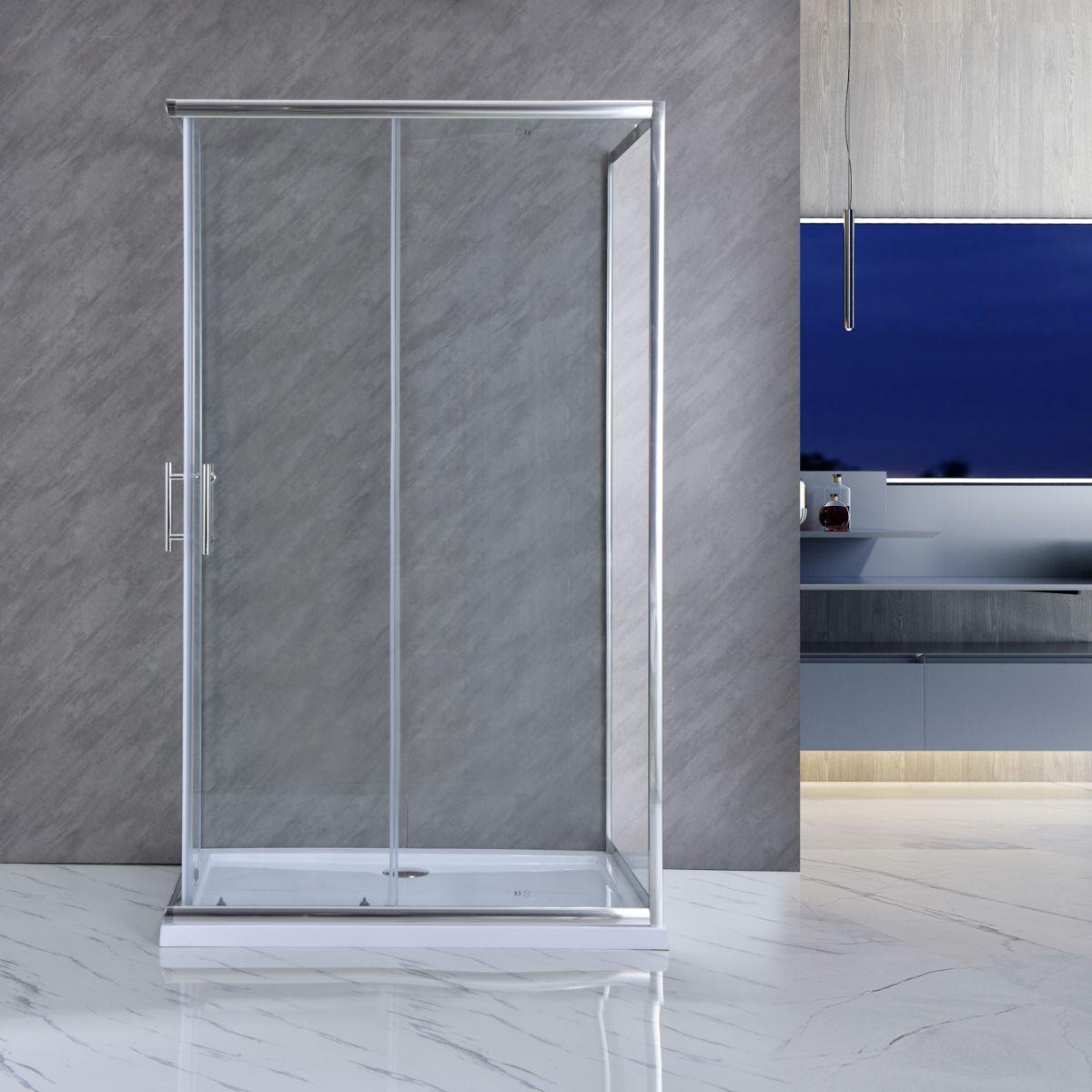 """SE 119 10 Box doccia tre lati """"Saturno"""" 70x100x70 cm scorrevole cristallo trasparente 6 mm"""