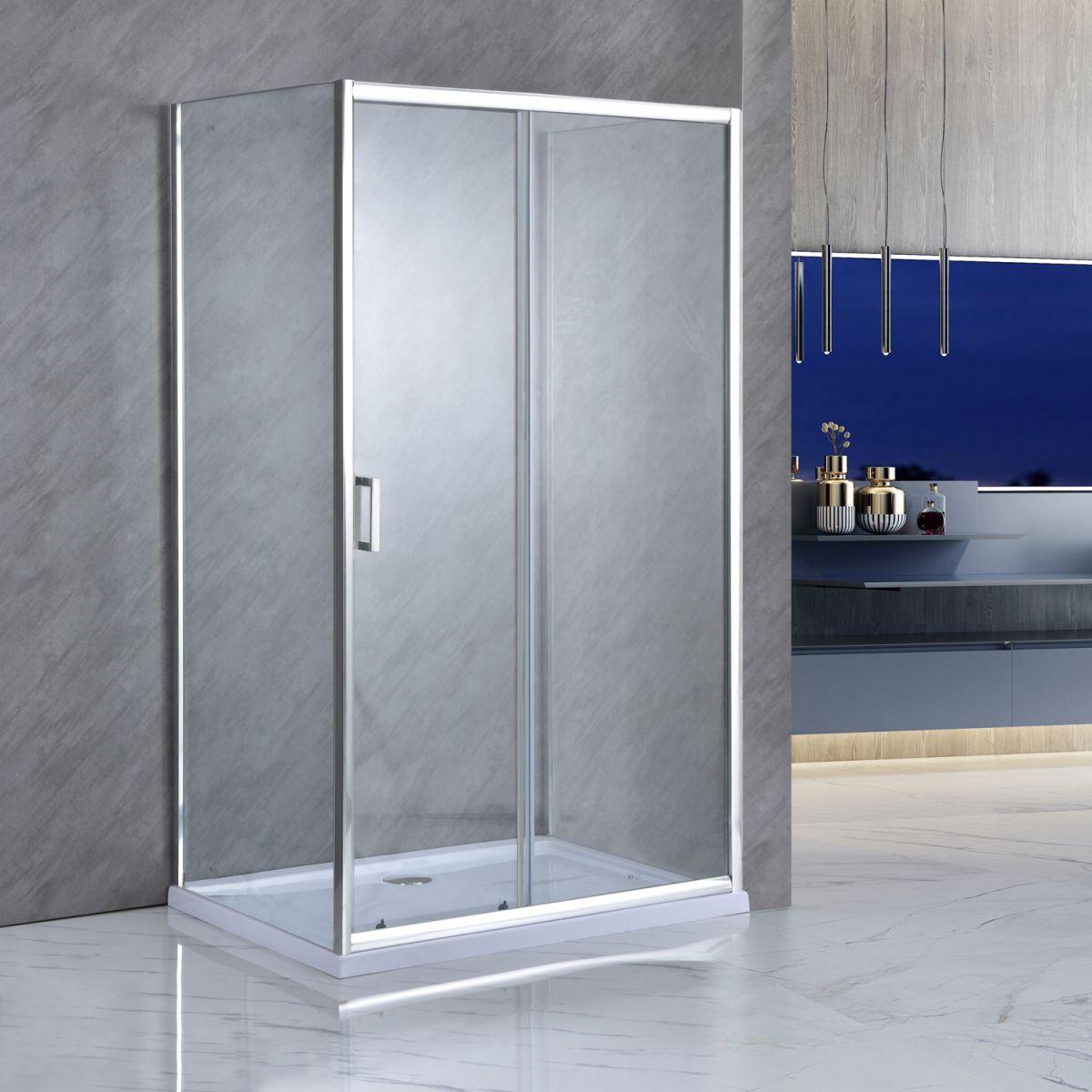 """SE 141 01 Box Cabina doccia tre lati """"Saturno"""" 80x100x80 cm scorrevole cristallo trasparente 6 mm"""