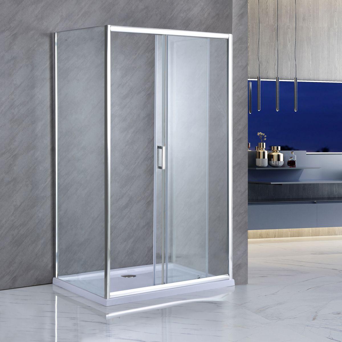 """SE 141 02 Box Cabina doccia tre lati """"Saturno"""" 80x100x80 cm scorrevole cristallo trasparente 6 mm"""