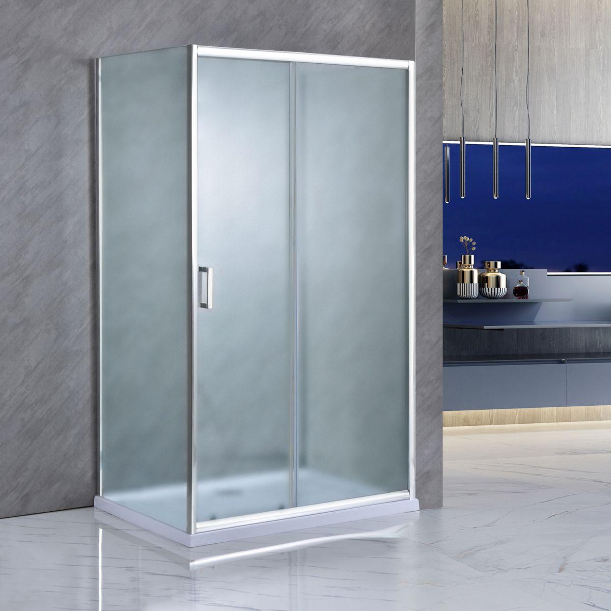 """SE 142 01 Box Cabina doccia tre lati """"Saturno"""" 70x130x70 cm scorrevole cristallo satinato 6 mm"""