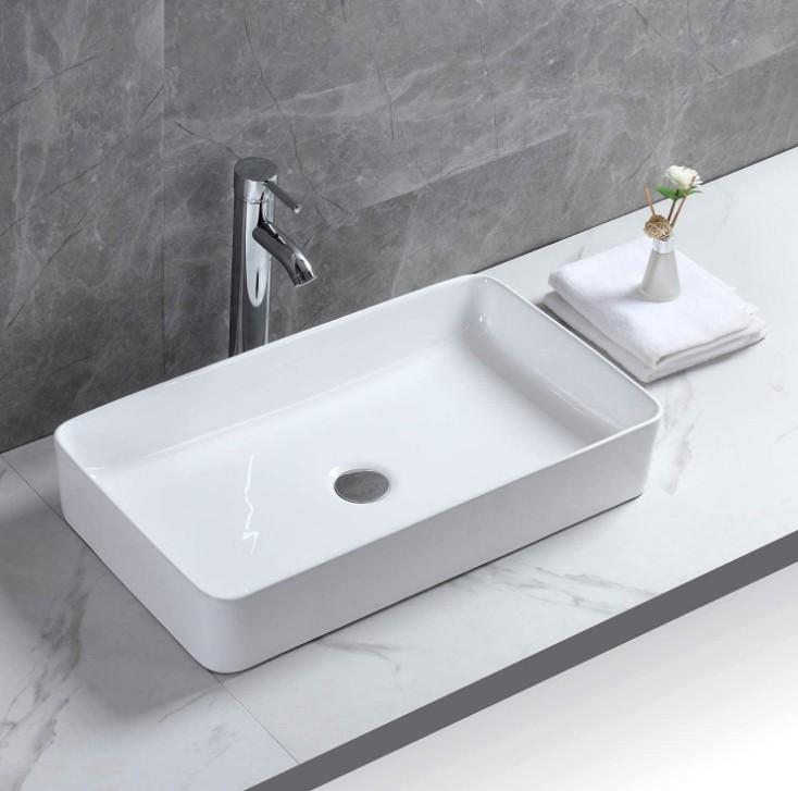 XS 0140lavabo appoggio 1 Lavabo bacinella cod XS-0140 da appoggio in ceramica di forma rettangolare col bianco lucido