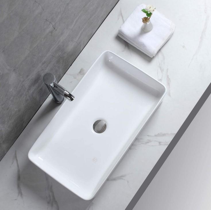 XS 0140lavabo appoggio 2 Lavabo bacinella cod XS-0140 da appoggio in ceramica di forma rettangolare col bianco lucido