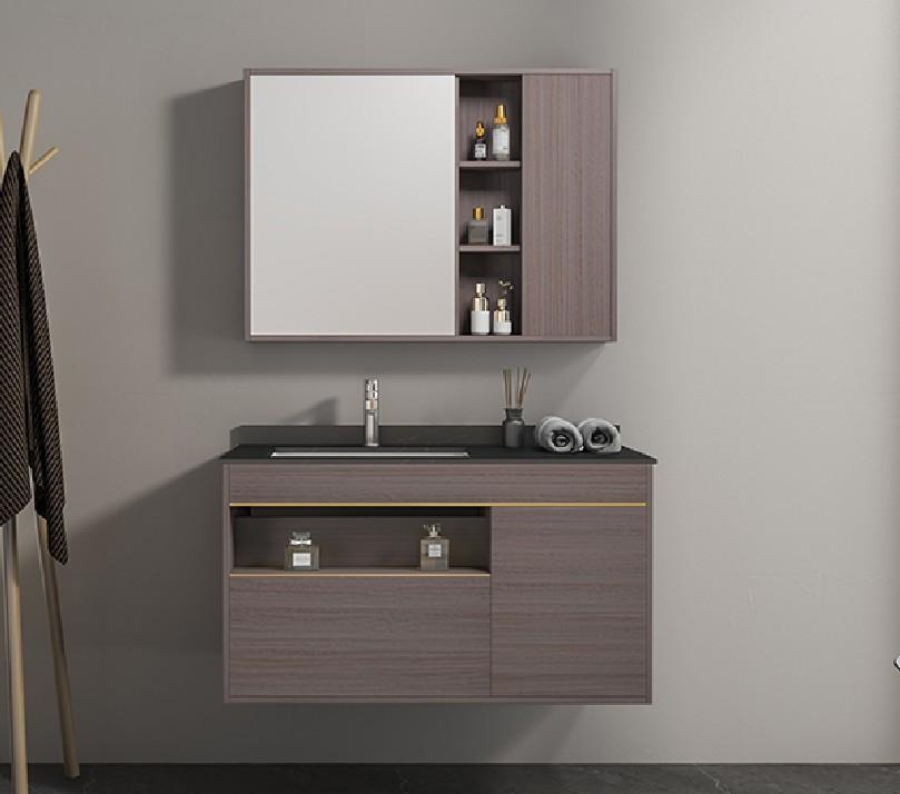 atene Mobile bagno Atene sospeso da 100 cm vinaccia effetto legno con lavabo specchio e pensile