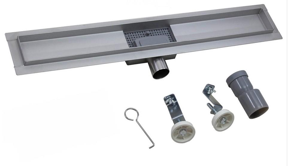 canalina SD C02 e SD C03 foto2 Canalina di scarico per doccia da 60 cm in acciaio Inox, con sifone mod. Greca