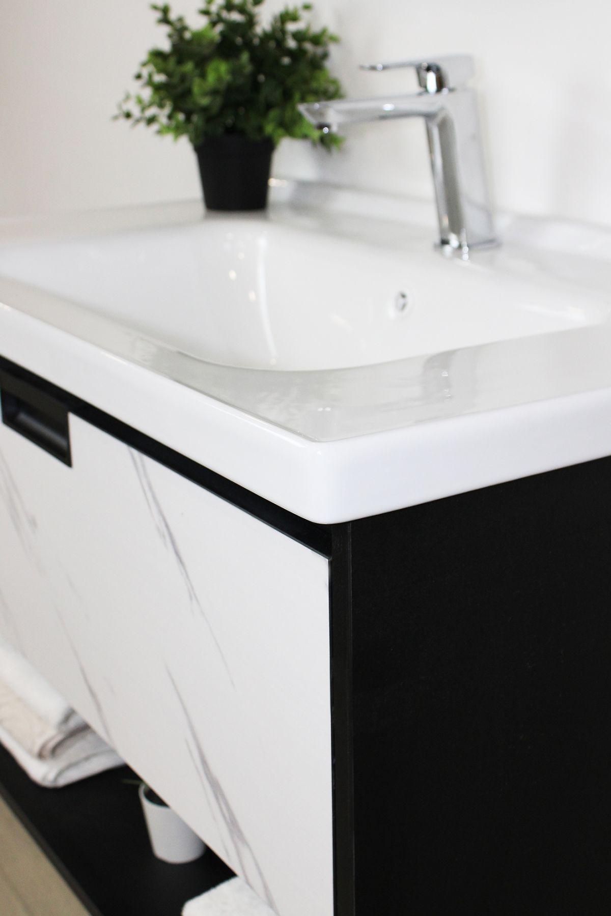 lisbona particolare Mobile bagno Lisbona sospeso da 80 cm grigio effetto legno e bianco effetto marmo con lavabo specchio contenitore