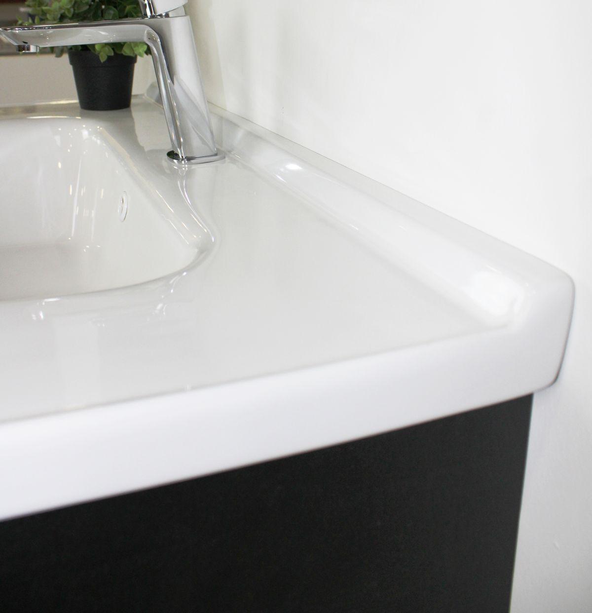 lisbona particolare 2 Mobile bagno Lisbona sospeso da 80 cm grigio effetto legno e bianco effetto marmo con lavabo specchio contenitore