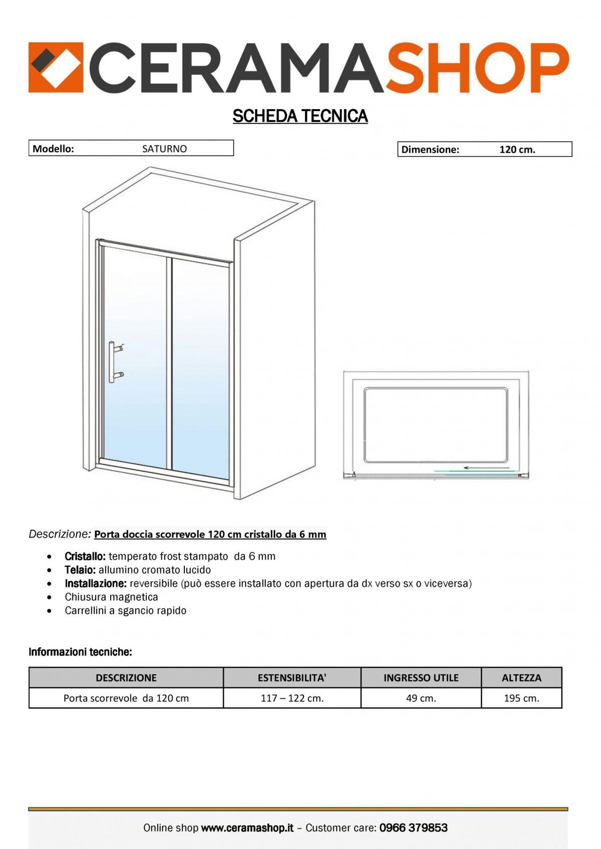 """nicchia 120 satinato 0001 scaled Porta doccia Nicchia """"Saturno"""" da 120 cm scorrevole cristallo frost stampato da 6 mm"""