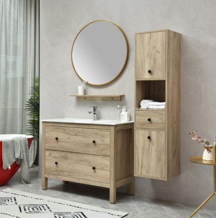 parigi 2 rovere Mobile bagno Parigi a terra 100 cm rovere scuro con lavabo specchio, pensile e colonna