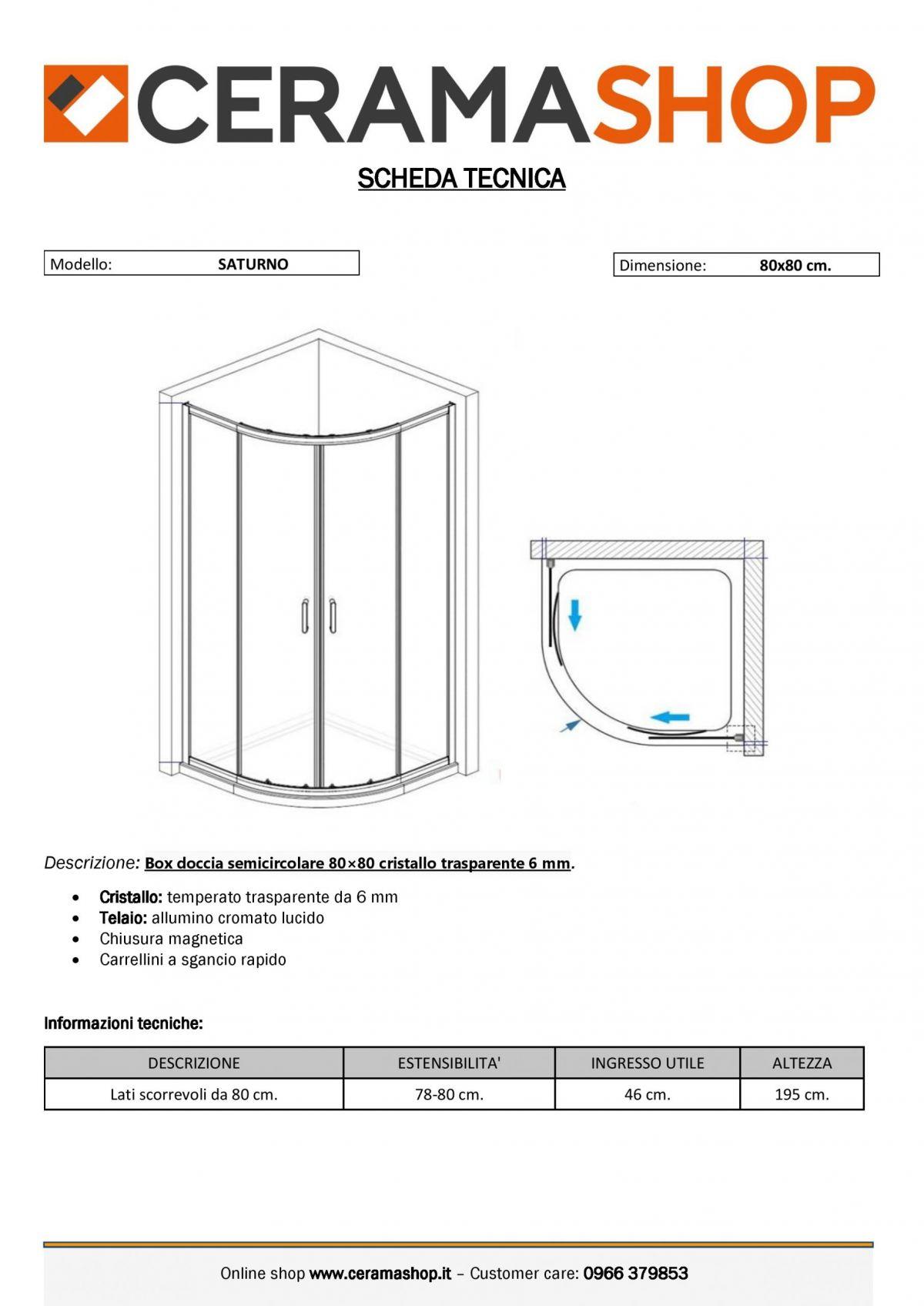 """semicircolare 80 80 0001 scaled Box doccia semicircolare """"Saturno"""" 80×80 cm scorrevole cristallo trasparente 6 mm"""