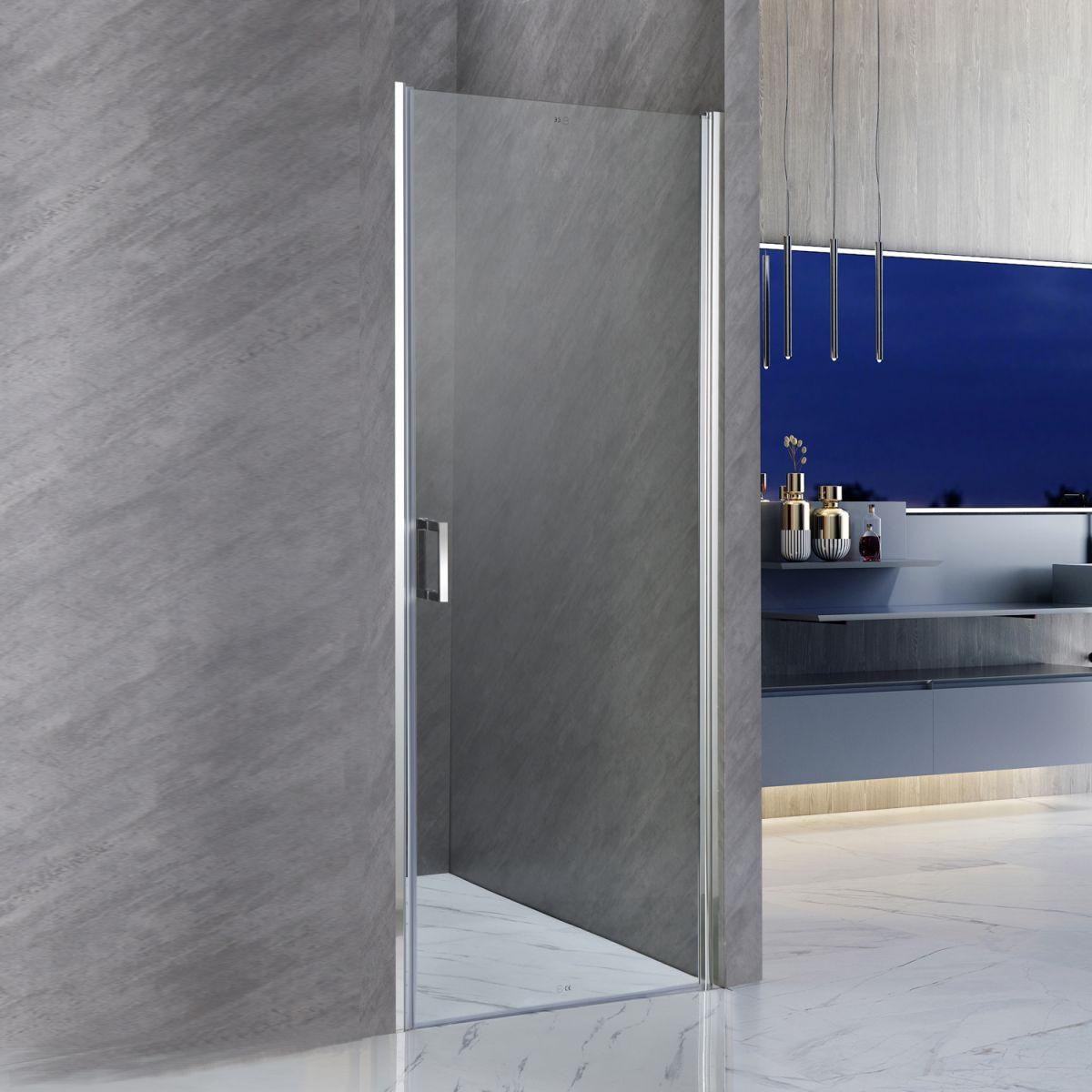 """SC 2117 Porta doccia """"Nettuno"""" con anta battente 90 cm cristallo trasparente da 6 mm"""