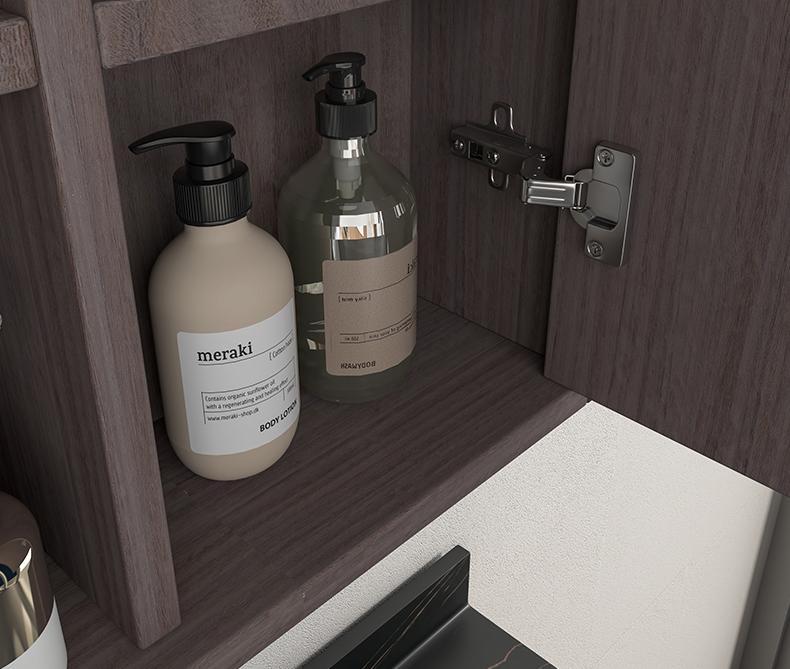 Atene particolare Mobile bagno Atene sospeso da 100 cm vinaccia effetto legno con lavabo specchio e pensile