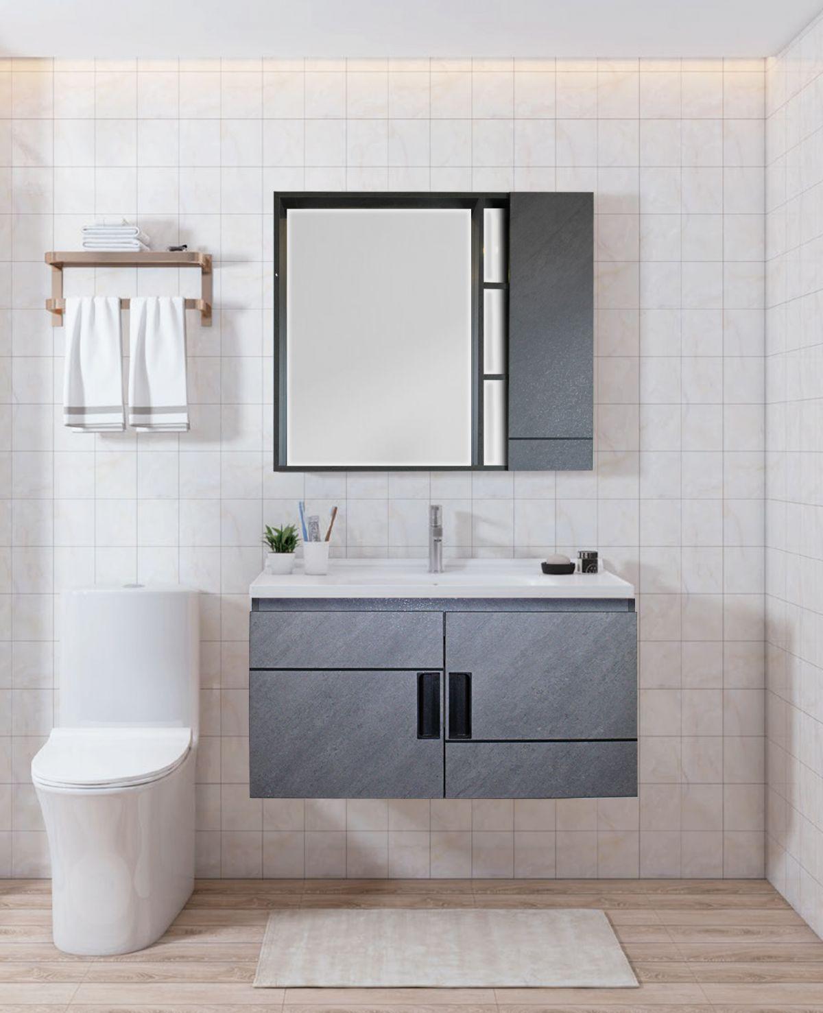 BUDAPEST Mobile bagno Budapest sospeso da 80 cm grigio spazzolato con lavabo specchio e pensile