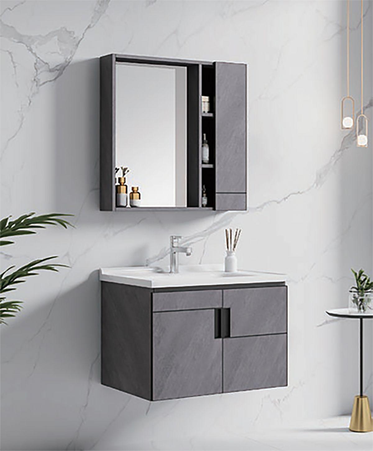 Budapest mobile bagno Mobile bagno Budapest sospeso da 80 cm grigio spazzolato con lavabo specchio e pensile