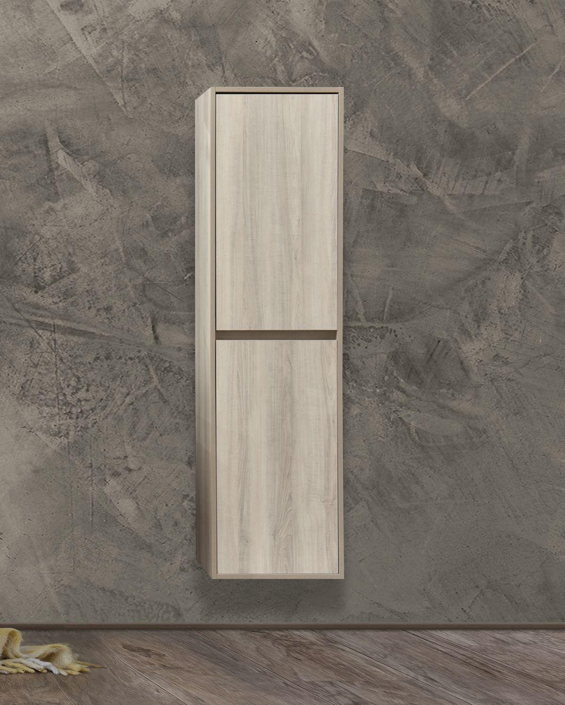 Colonna Bianca chiusa Pensile bagno sospeso 40x30 150h cm con 2 anta color bianco effetto legno