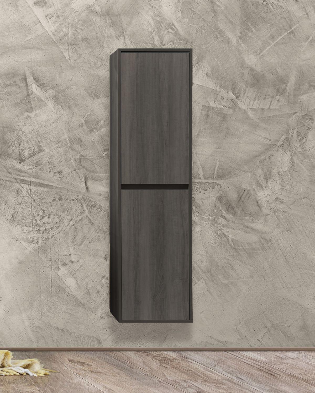 Colonna Grigio chiusa Mobile bagno Praga sospeso 60 cm grigio effetto legno con lavabo,specchio e colonna pensile