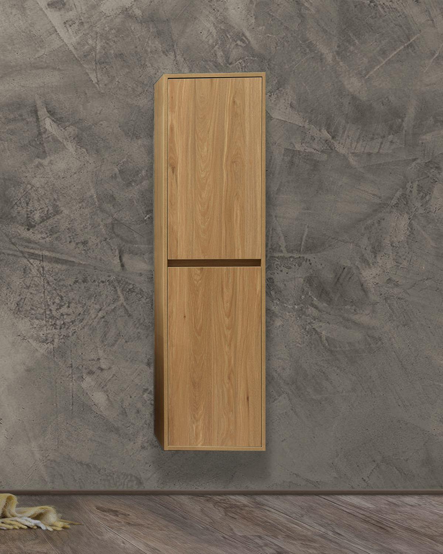 Colonna Rovere chiusa Pensile bagno sospeso 40x30x 150h cm con 2 anta color rovere effetto legno