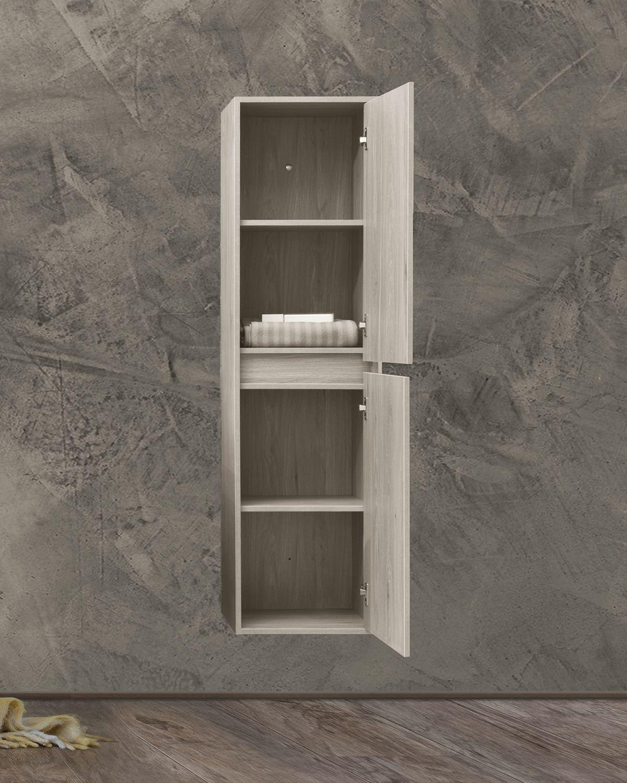 Colonna bianca aperta Pensile bagno sospeso 40x30 150h cm con 2 anta color bianco effetto legno
