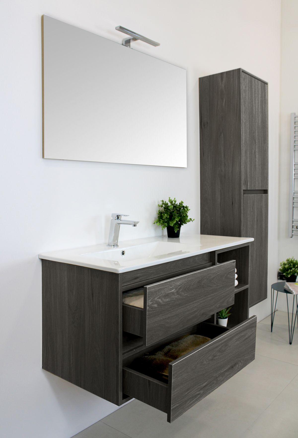 LONDRA Grigio laterale Mobile bagno Londra sospeso 100 cm grigio effetto legno con lavabo specchio lampada