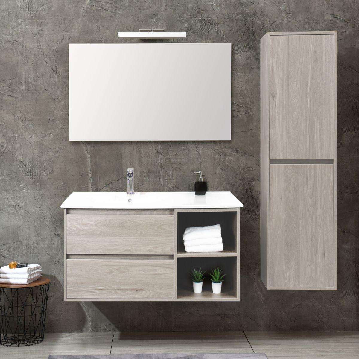 Londra Bianco 100cm Mobile bagno Londra sospeso 100 cm bianco effetto legno con lavabo specchio e pensile