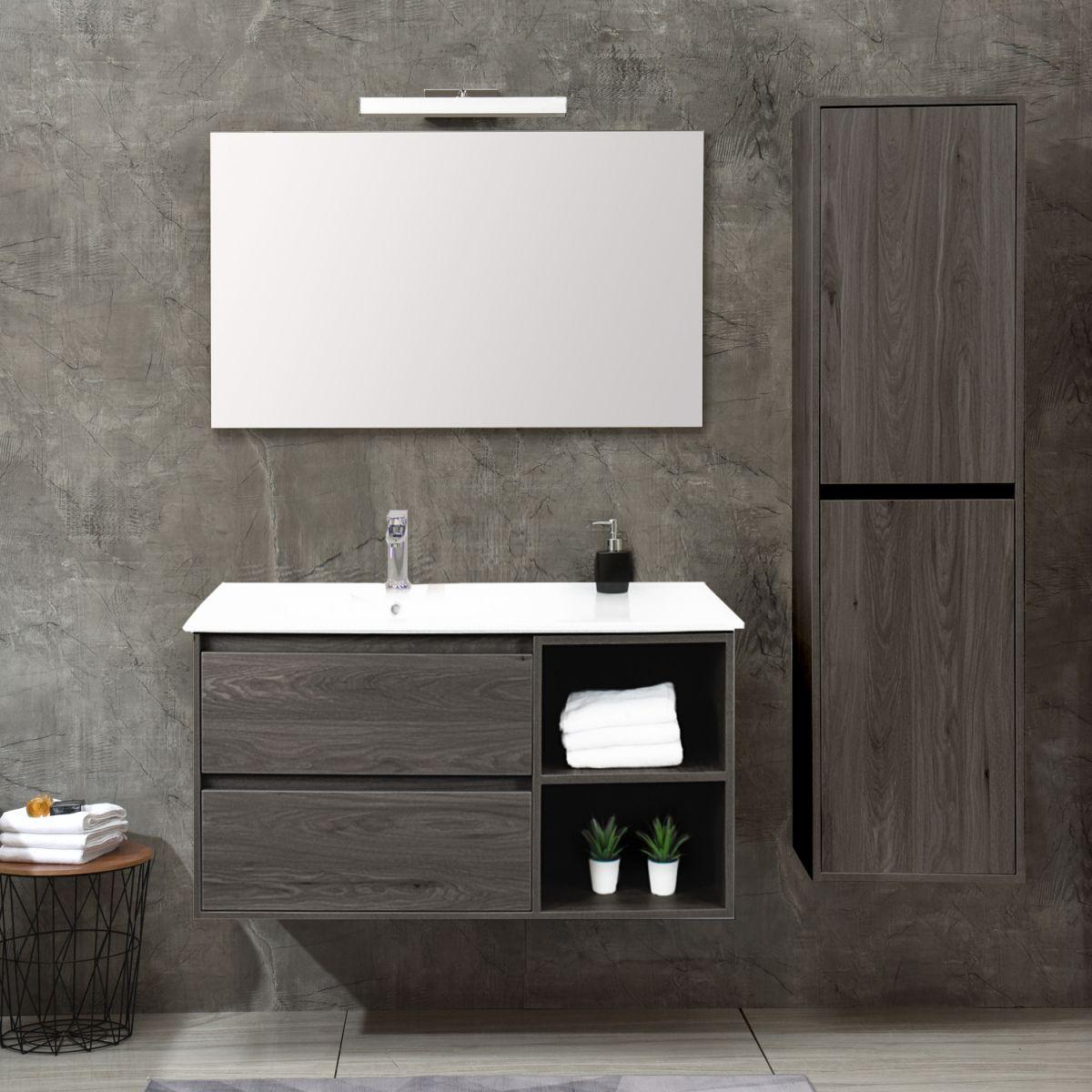 Londra Grigio 100cm con colonna Mobile bagno Londra sospeso 100 cm grigio effetto legno con lavabo specchio e pensile