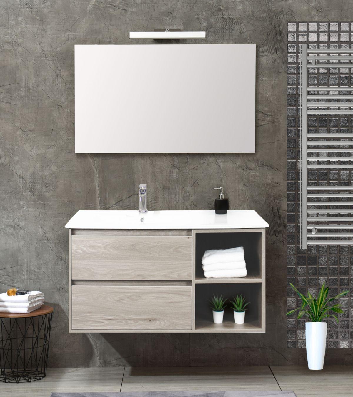 Londra singolo bianco Mobile bagno Londra sospeso 100 cm bianco effetto legno con lavabo specchio lampada