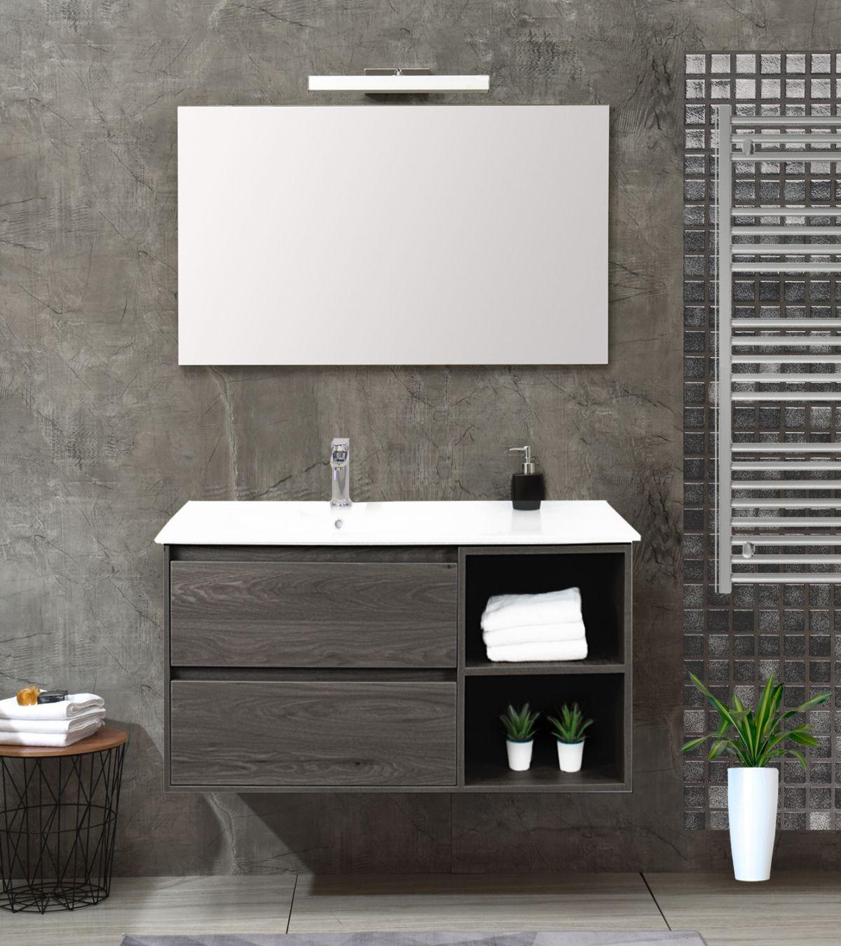 Londra singolo grigio Mobile bagno Londra sospeso 100 cm grigio effetto legno con lavabo specchio lampada