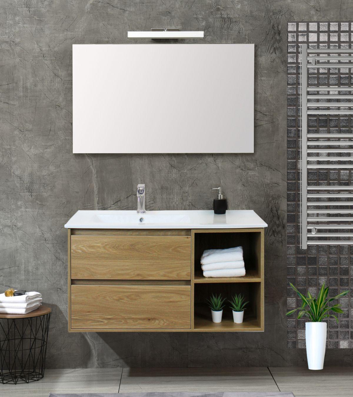 Londra singolo rovere Mobile bagno Londra sospeso 100 cm rovere effetto legno con lavabo specchio lampada