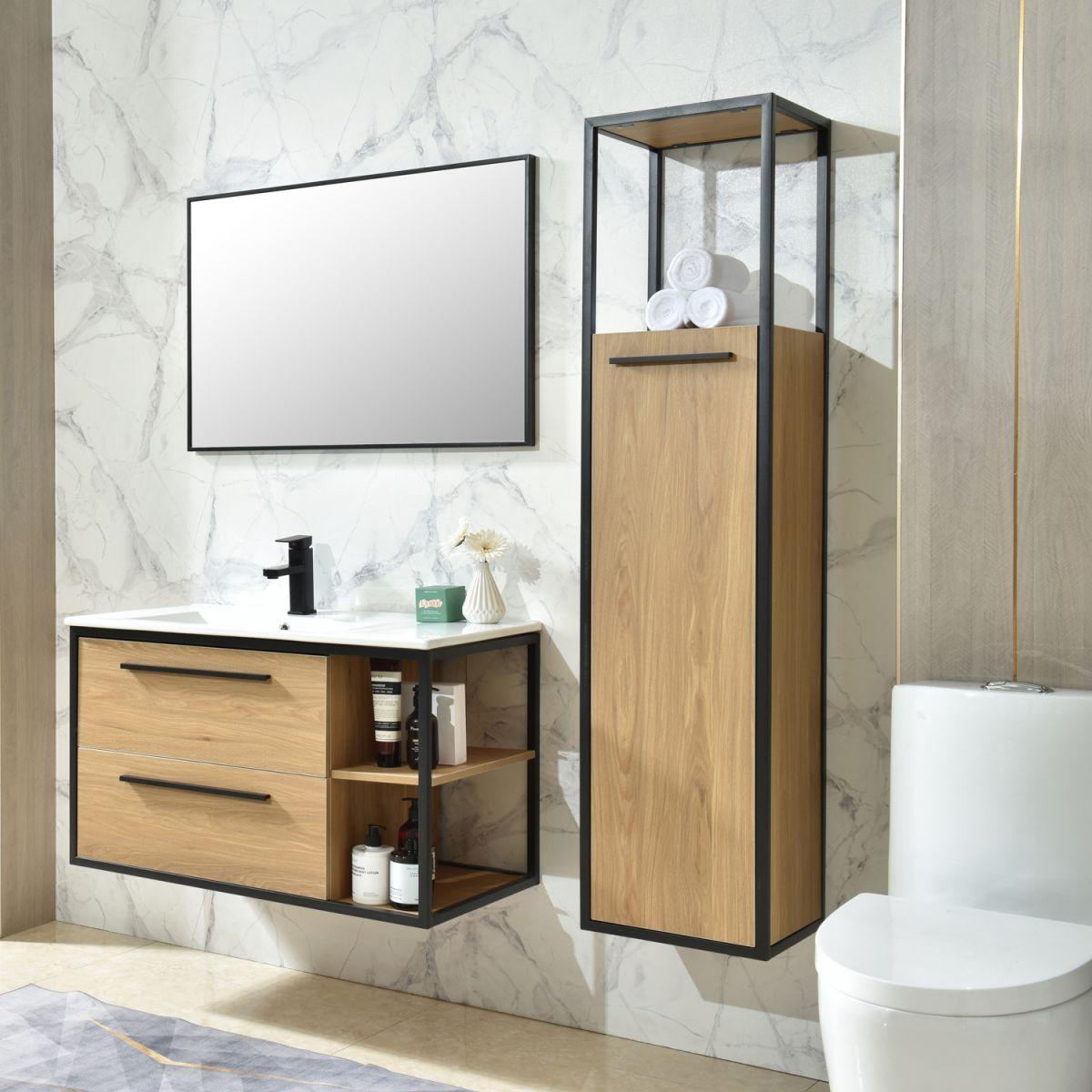 MF 1958 2 Mobile bagno Tallin sospeso da 90 cm bianco effetto legno con lavabo specchio e colonna pensile