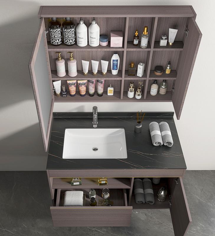 Mobile bagno Atene aperto Mobile bagno Atene sospeso da 100 cm vinaccia effetto legno con lavabo specchio e pensile