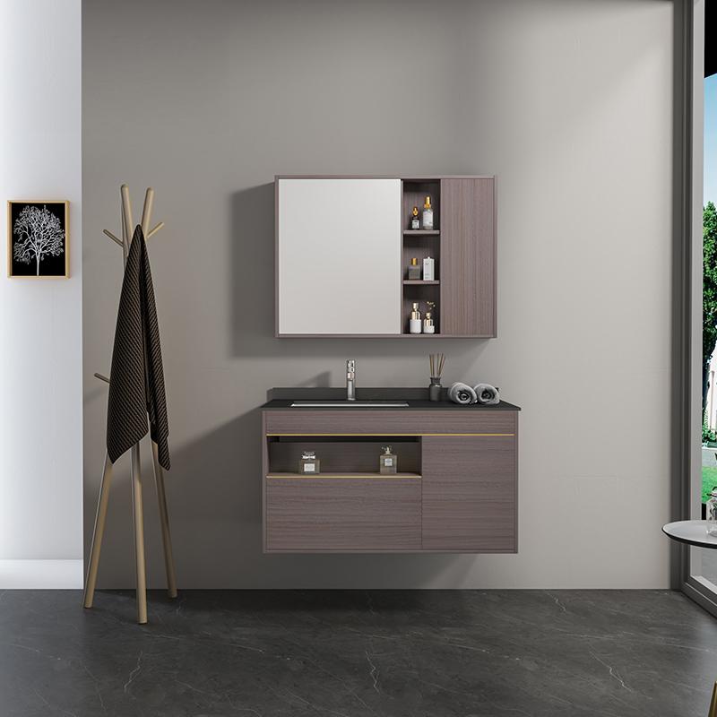 Mobile bagno Atene frontale Mobile bagno Atene sospeso da 100 cm vinaccia effetto legno con lavabo specchio e pensile
