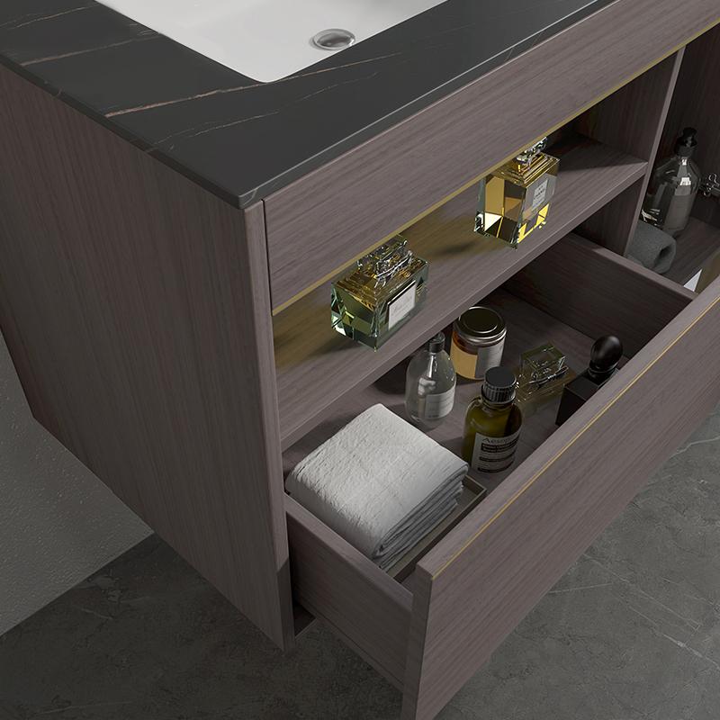 Mobile bagno Atene particolare top Mobile bagno Atene sospeso da 100 cm vinaccia effetto legno con lavabo specchio e pensile