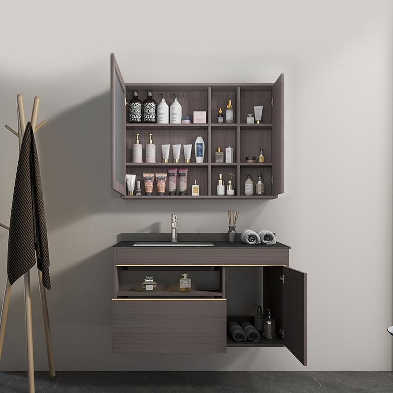 Mobile bagno Atene Mobile bagno Atene sospeso da 100 cm vinaccia effetto legno con lavabo specchio e pensile