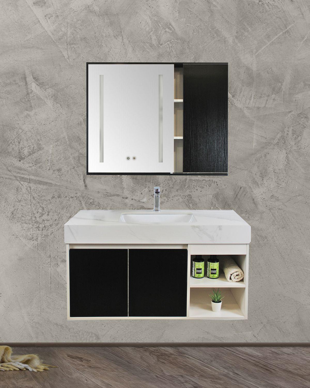 Mobile bagno Denver frontale Mobile bagno Denver sospeso da 100 cm wengè e bianco opaco con lavabo specchio e pensile