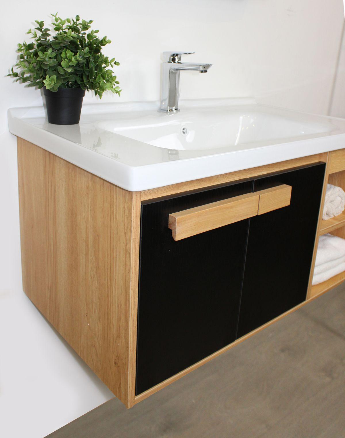 Mobile bagno Olso particolare Mobile bagno Oslo sospeso da 80 cm rovere effetto legno e nero effetto legno con lavabo specchio e modulo a giorno
