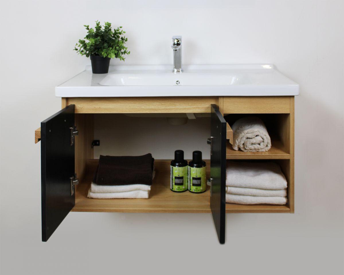 Mobile bagno Olso particolare4 Mobile bagno Oslo sospeso da 80 cm rovere effetto legno e nero effetto legno con lavabo specchio e modulo a giorno