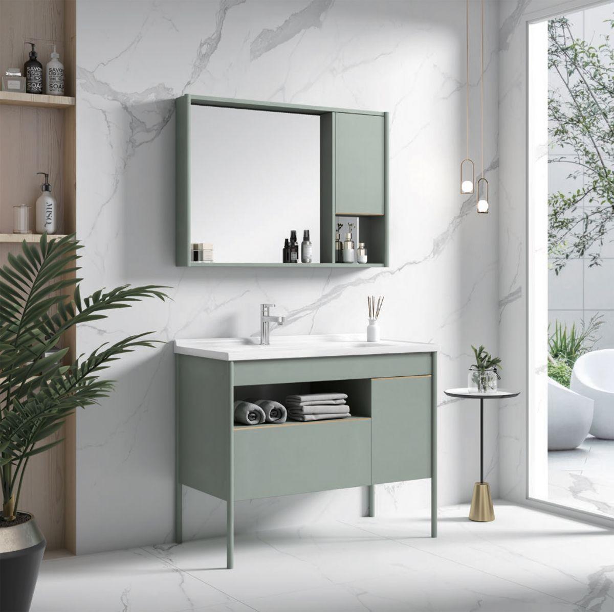Mobile bagno riga Mobile bagno Riga a terra da 80 verde acqua con lavabo specchio e pensile