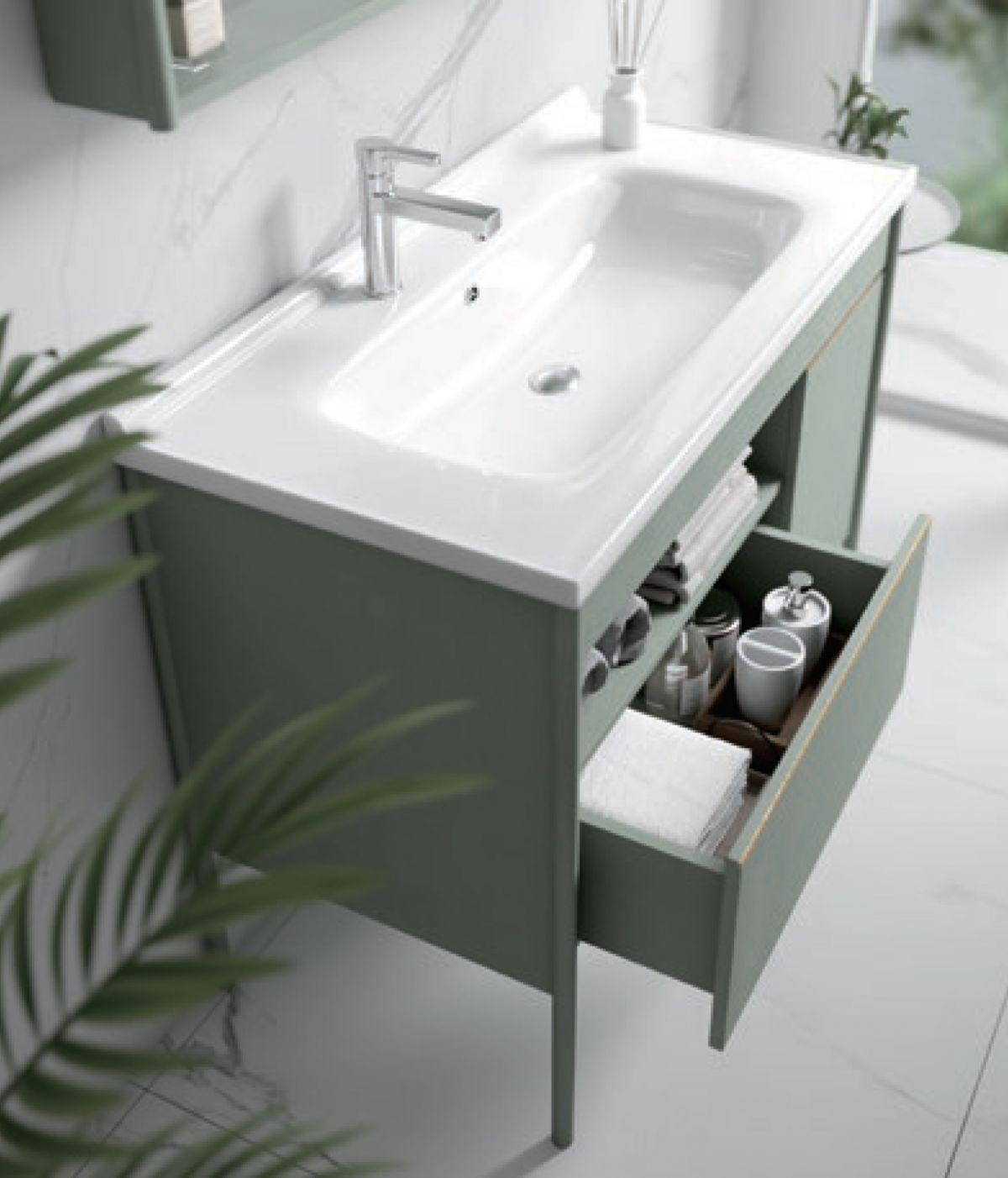 Mobile bagno riga2 Mobile bagno Riga a terra da 80 verde acqua con lavabo specchio e pensile