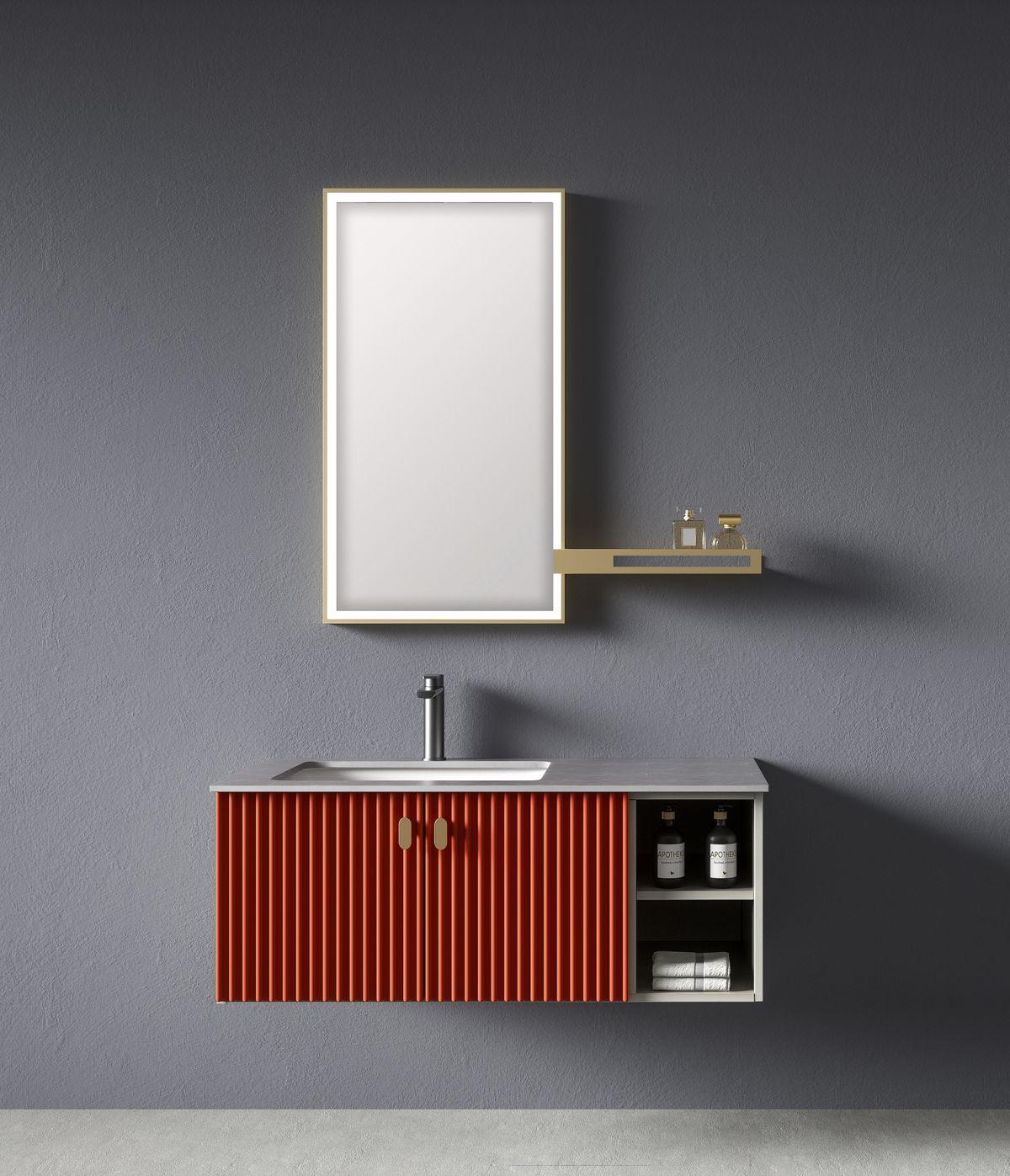 Mobile bagno sospeso ISTAMBUL PW05100B Mobile bagno Istanbul sospeso da 100 cm color mattone con lavabo specchio e mensola
