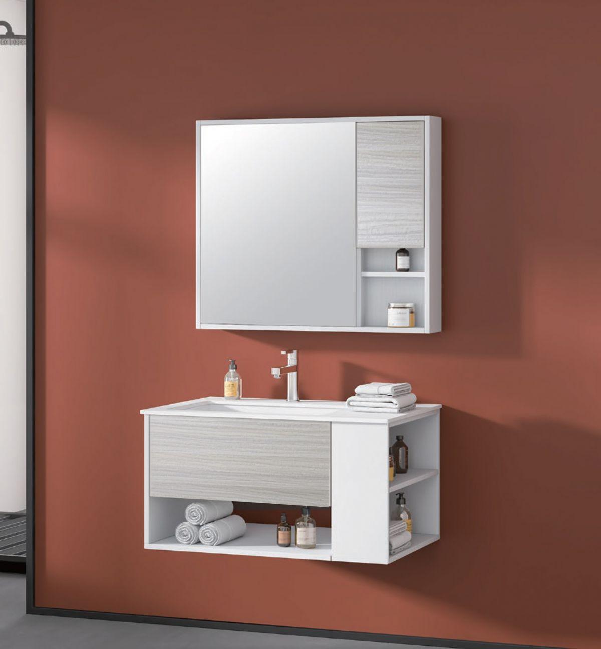Nassaun mobile bagno sospeso 1 Mobile bagno Nassau sospeso da 80 cm bianco lucido e bianco decapè effetto legno con lavabo specchio e pensile