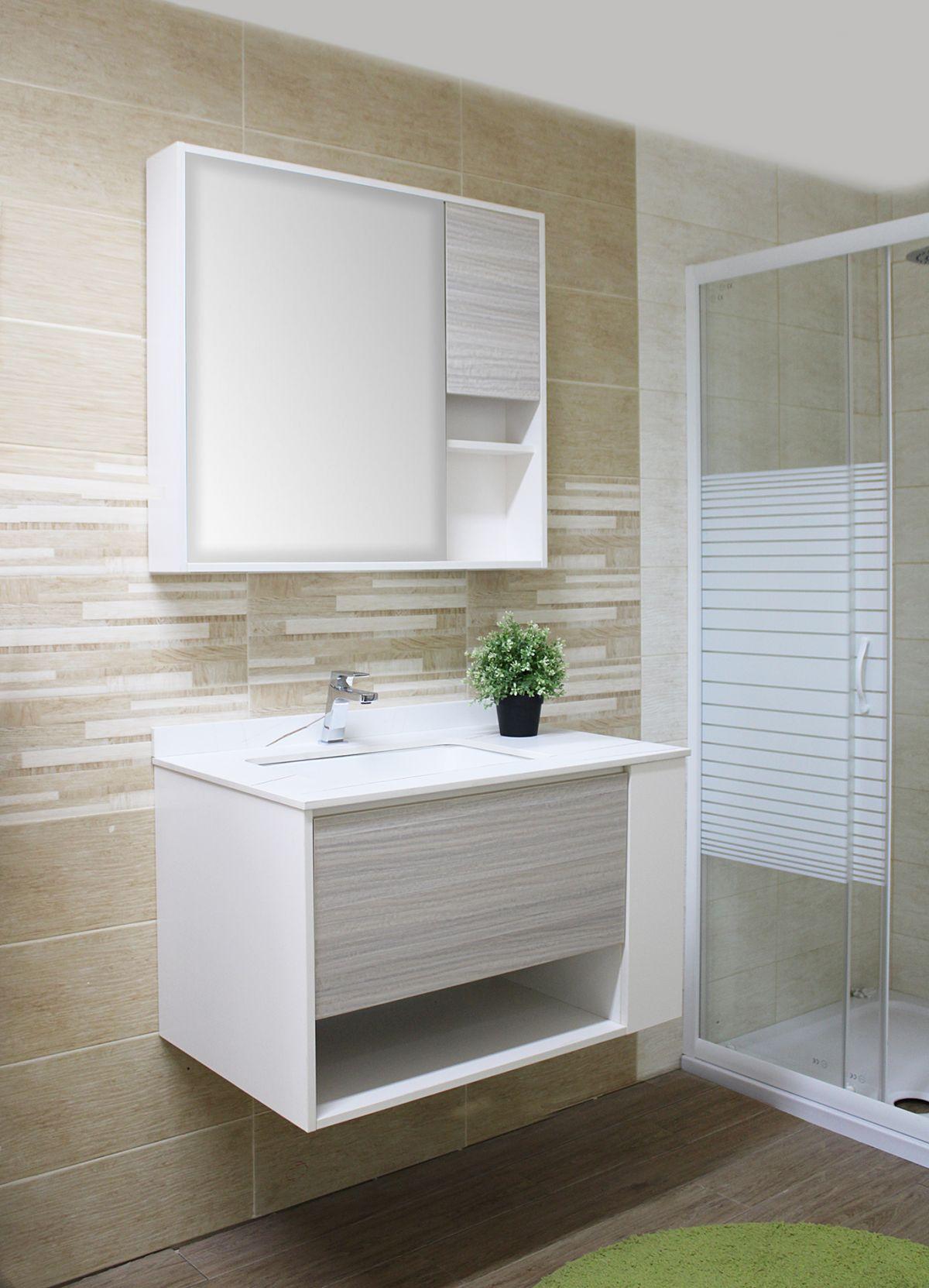 Nassaun mobile bagno sospeso 3 Mobile bagno Nassau sospeso da 80 cm bianco lucido e bianco decapè effetto legno con lavabo specchio e pensile
