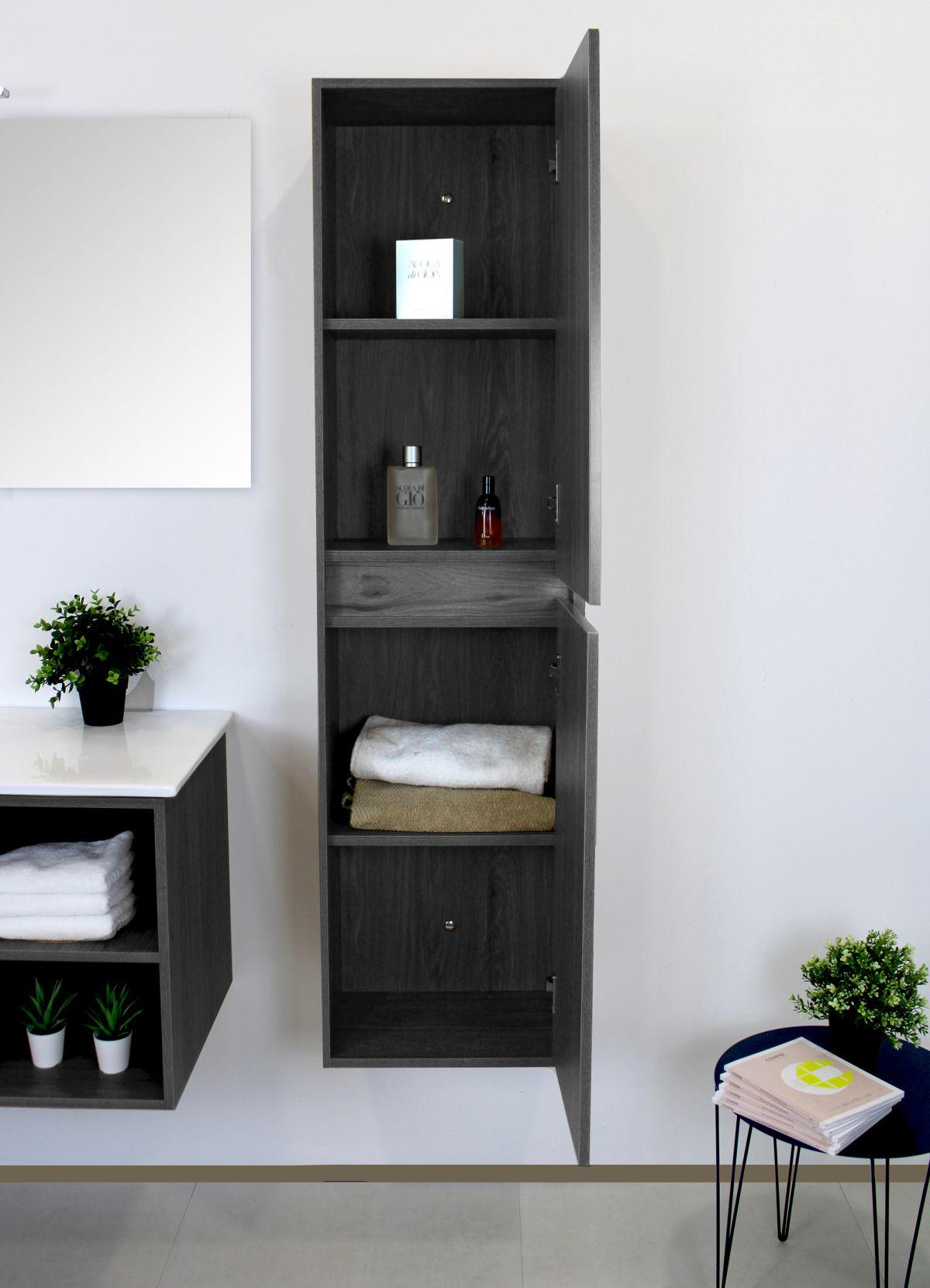 PENSILE LONDRA GRIGIO APERTO scaled Pensile bagno sospeso 40x30x 150h cm con 2 anta color grigio effetto legno