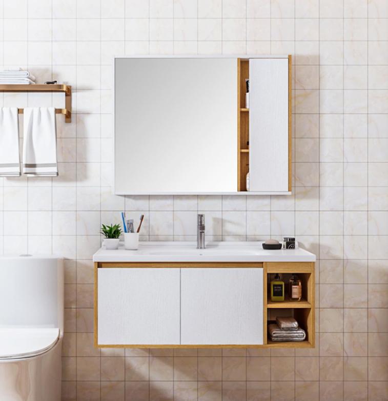 T 9569 1 Mobile bagno Roma sospeso da 100 cm rovere chiaro e bianco effetto legno con lavabo specchio e pensile