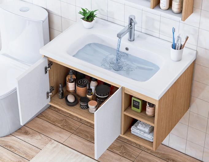 T 9569 3 Mobile bagno Roma sospeso da 100 cm rovere chiaro e bianco effetto legno con lavabo specchio e pensile