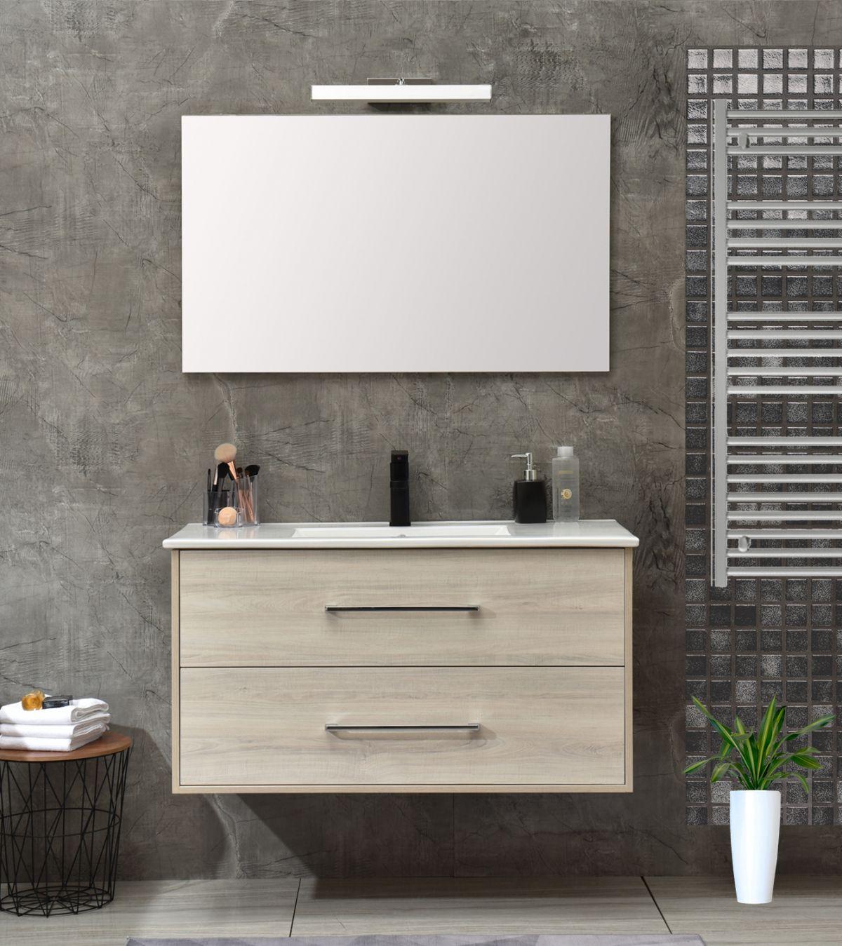 mobile 120 senza colonna bianco Mobile bagno Praga sospeso 120 cm bianco effetto legno con lavabo e specchio